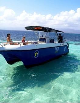 Grand Cul de Sac Marin on a motor catamaran